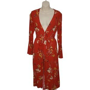 DYNAMITE floral bell sleeve belted tunic medium
